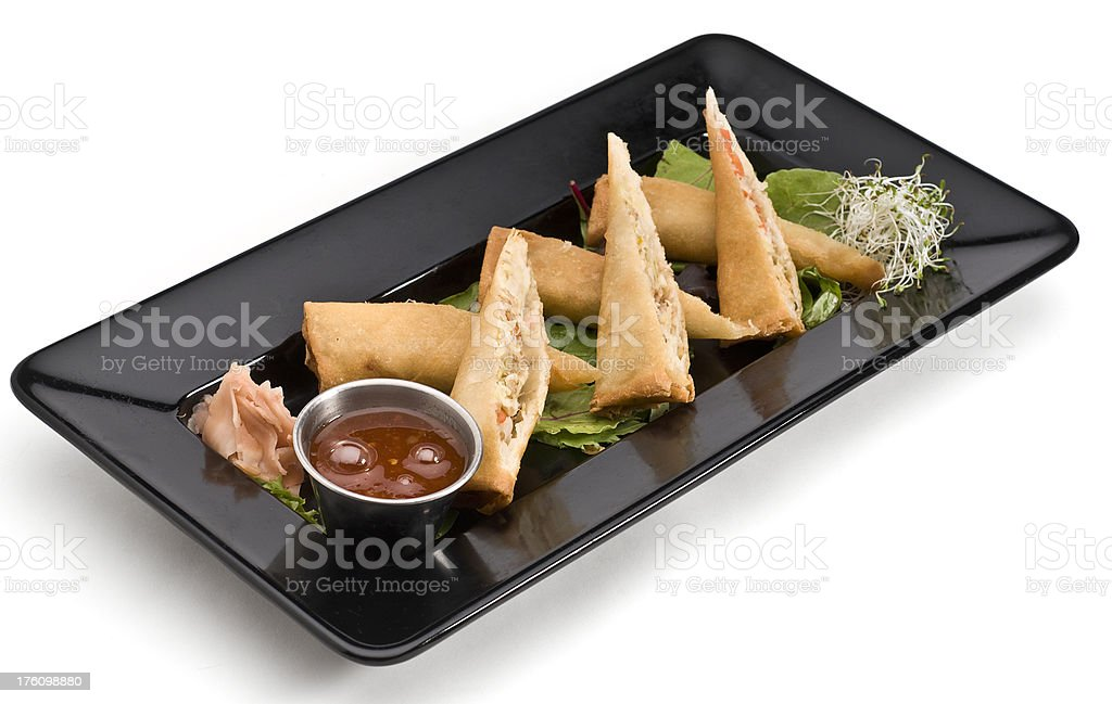 Spring rolls (cut in halves) royalty-free stock photo