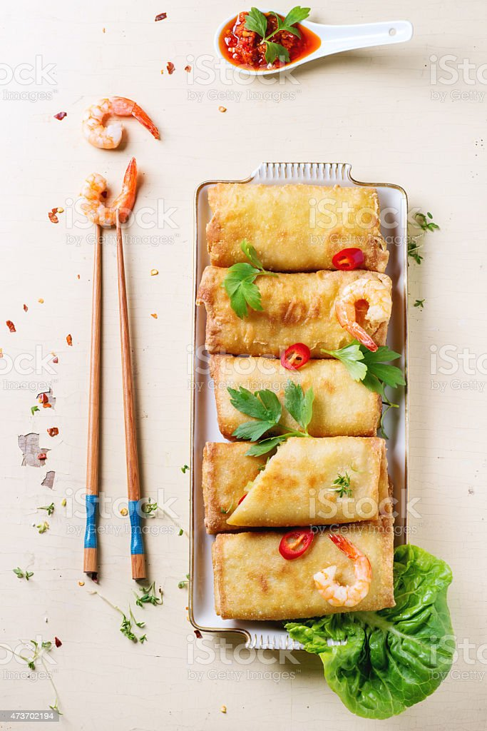 Spring rolls with vegetables and shrimps stock photo