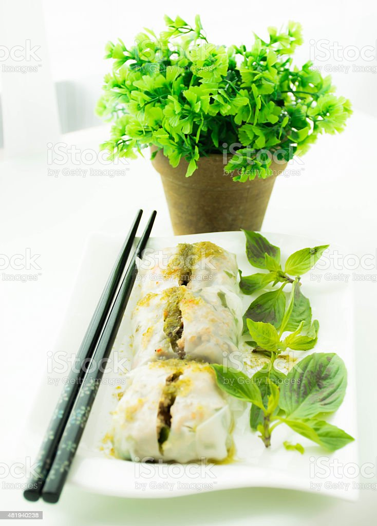spring rolls with vegetables stock photo