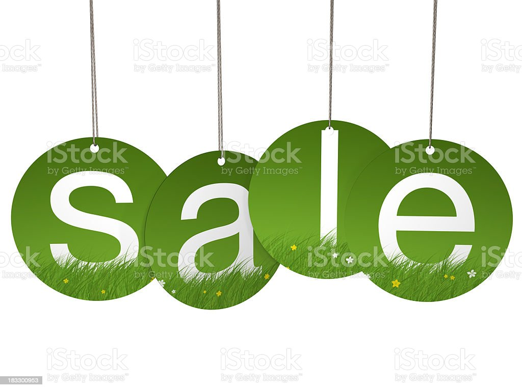Spring round hanging sale letter tags stock photo