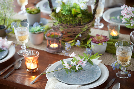 Spring Rustic Dining Table Setting