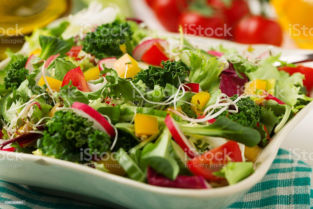 Frühling Salat mit frischem Gemüse aus Radieschen und Grünkohl Lizenzfreies stock-foto