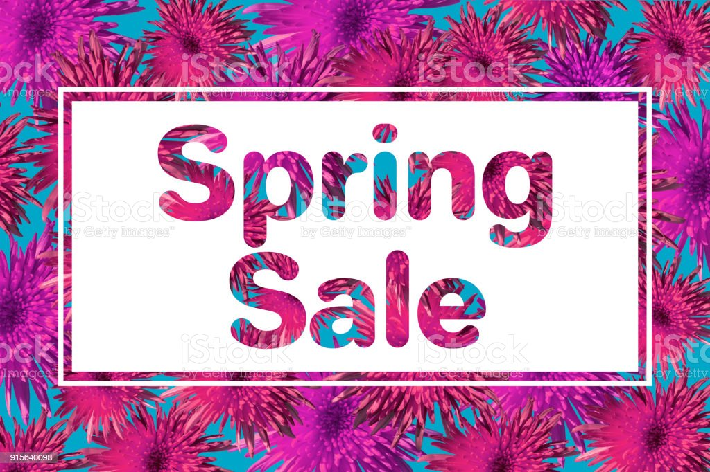 Spring sale banner with colorfu pink paper flowers. Card, posters, brochure, flyers, invitation, voucher discount. stock photo