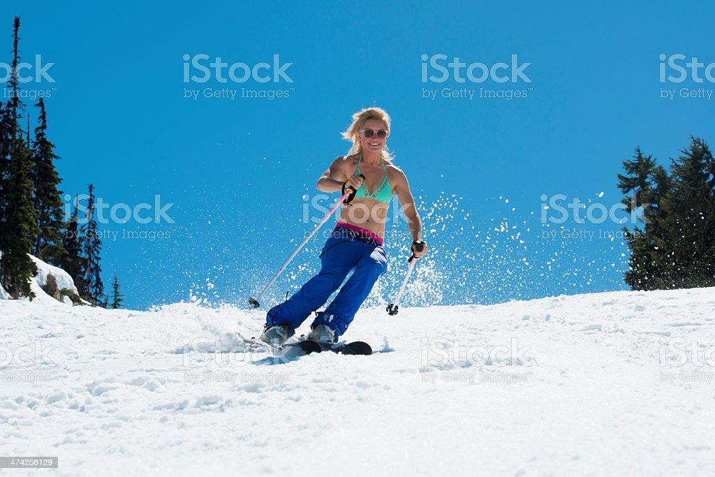Spring Skiing stock photo