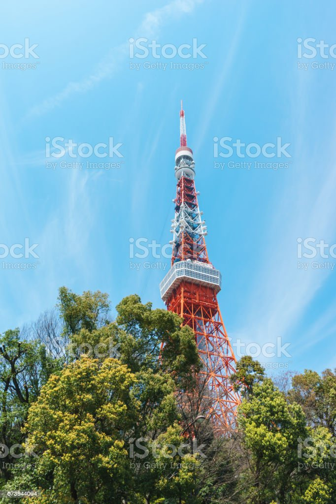 Spring sky and Tokyo tower royalty-free stock photo