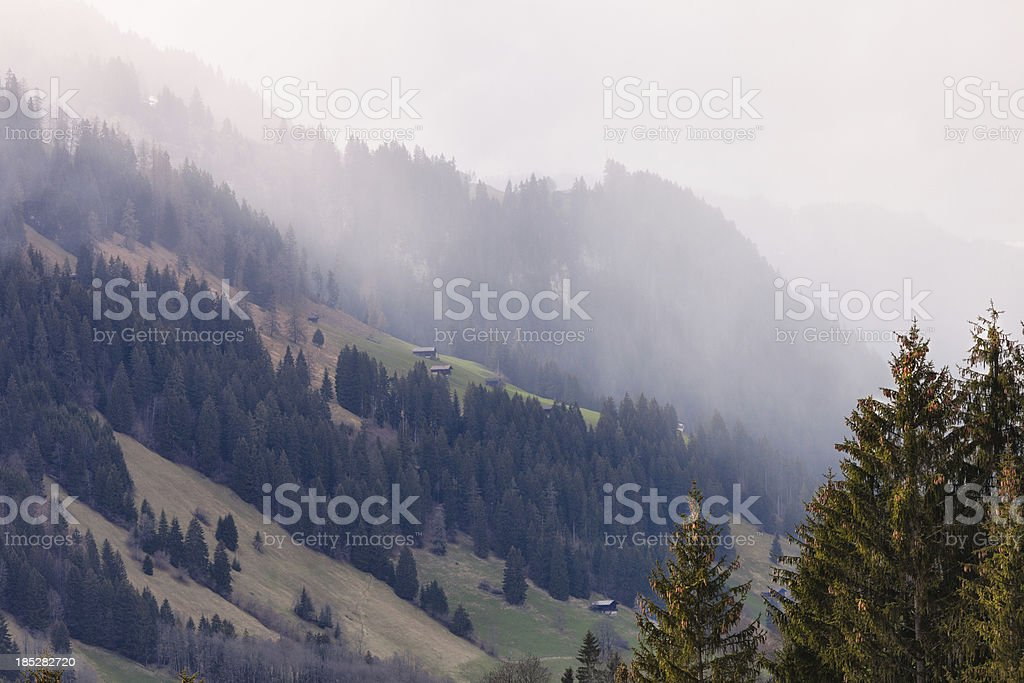 Spring Snow Squal blows over a Swiss Alp stock photo