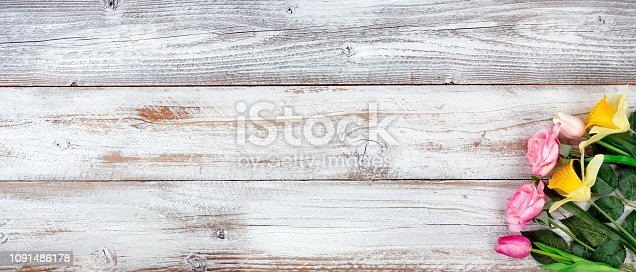 921112244 istock photo Spring still life image with Mothers Day and Easter holiday concept on white rustic background with a variety of flowers 1091486178