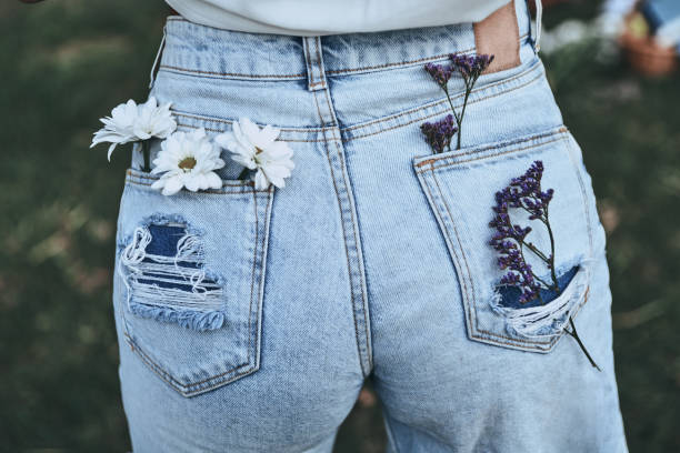 spring style. - jeans stock photos and pictures