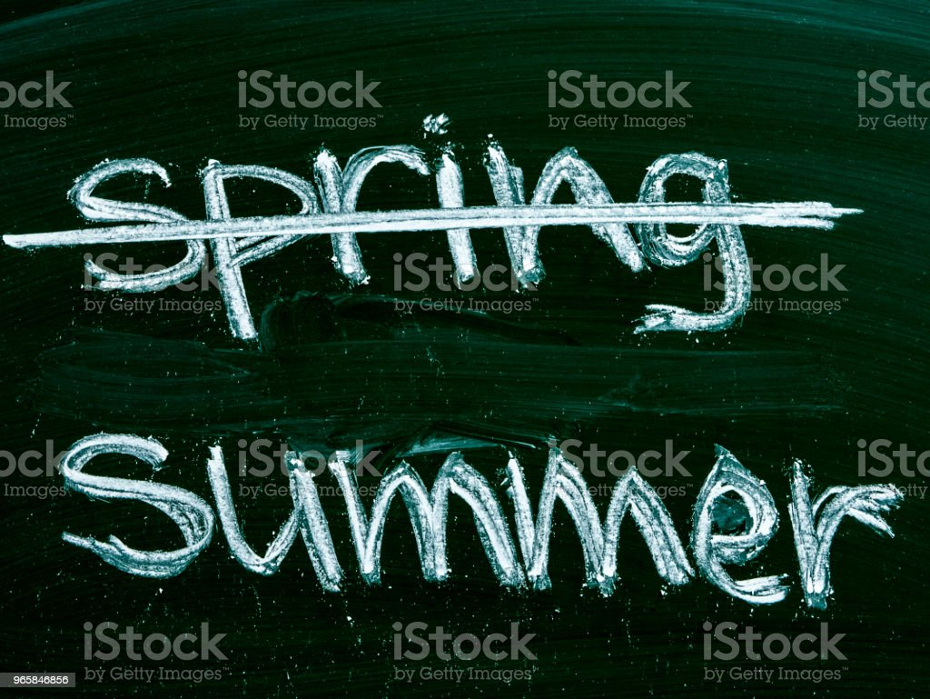 spring summer text on blackboard isolated - Royalty-free Black Color Stock Photo