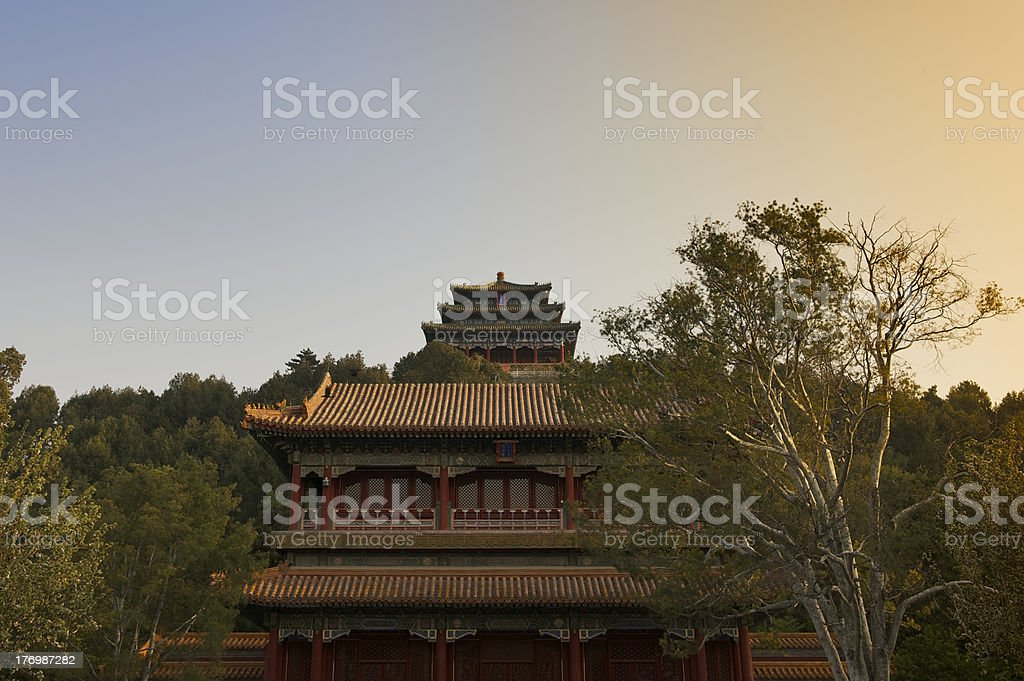 Spring sunrise in Jingshan Park near Forbidden City in Beijing royalty-free stock photo