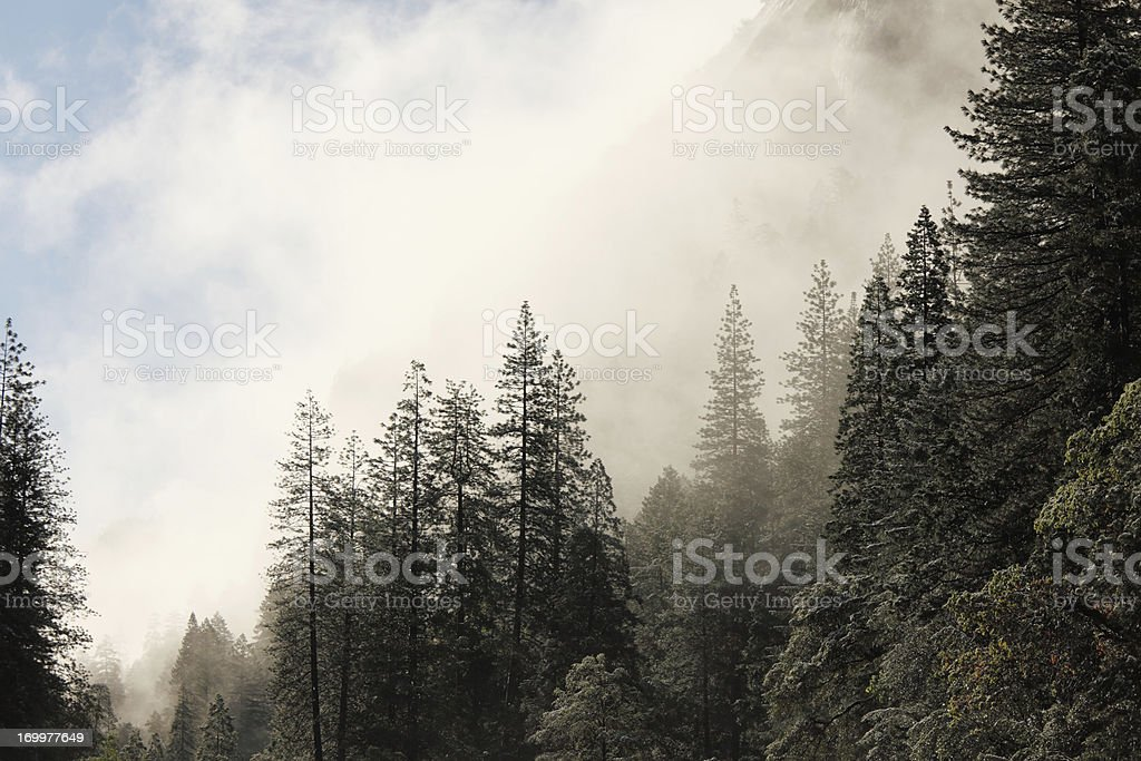spring sunrise view of the west entrance  Yosemite National Park royalty-free stock photo