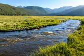 Evening sun shines on rushing Big Thompson River at Moraine Park in Rocky Mountain National Park, Colorado, USA.