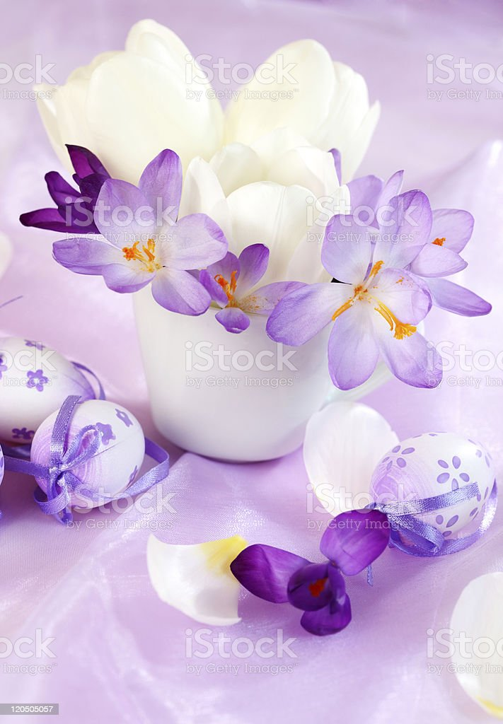 Spring table decoration royalty-free stock photo