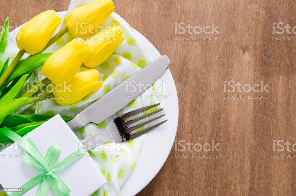 Spring Table Setting for Easter or Mother's Day stock photo