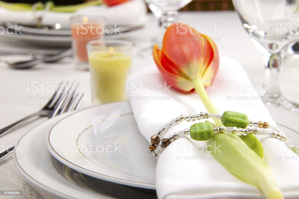 Spring table settings royalty-free stock photo