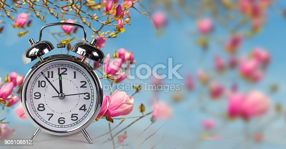 905623256 istock photo spring time clock flowers nature space for your text , background 905106512