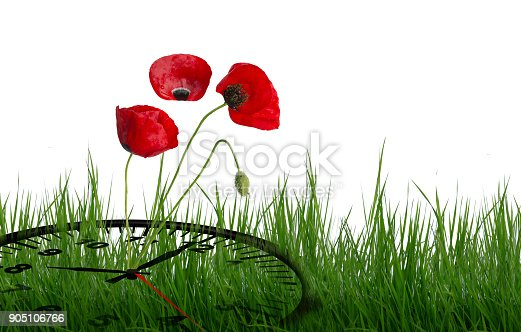 905623256 istock photo spring time clock flowers nature space for your text , background 905106766
