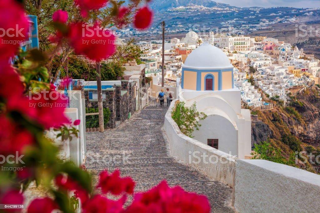 Spring time on Santorini island in Greece stock photo