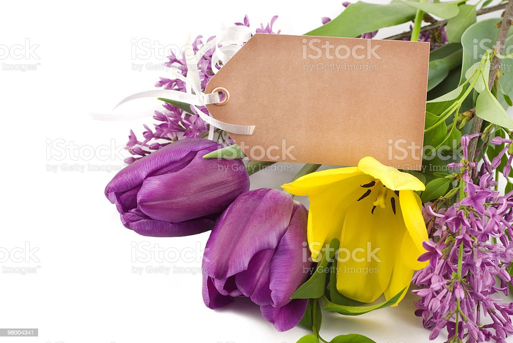 Spring Tulips and Lilac with Tag royalty free stockfoto