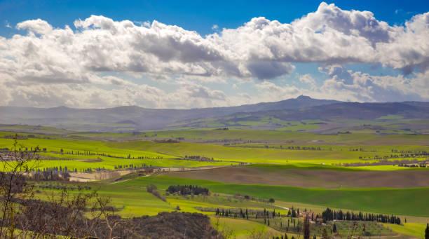 Spring Tuscany landscape stock photo