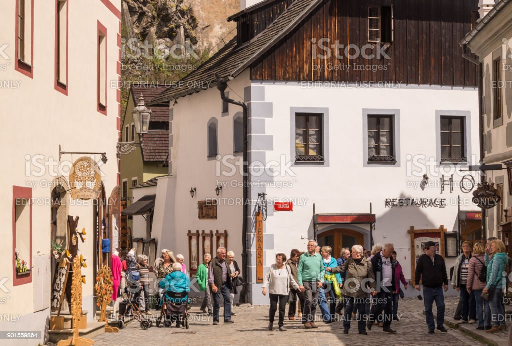 Spring vacations in Europe. Medieval architecture of Europe, Cesky Krumlov, Bohemia stock photo
