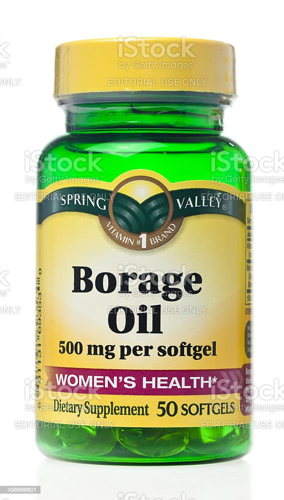 Spring Valley Brand Borage Oil Softgels royalty-free stock photo