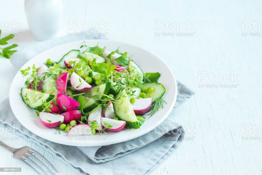 spring vegetables salad stock photo