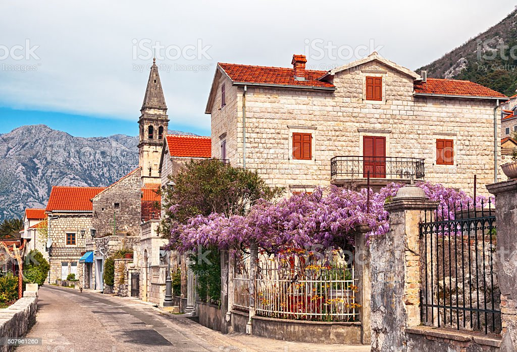 Spring view of Perast, small town in Bay of Kotor in Montenegro stock photo