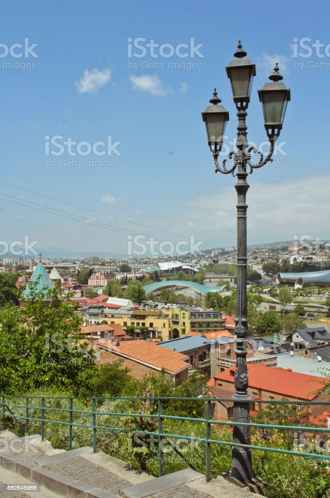 Tbilisi, Georgia - May 20, 2015: Spring view to historical part of the capital of Republic of Georgia. stock photo