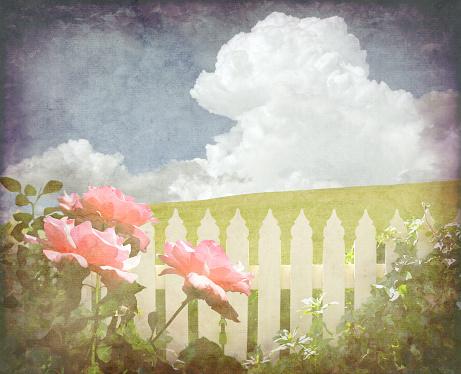 Spring vintage cottage garden background