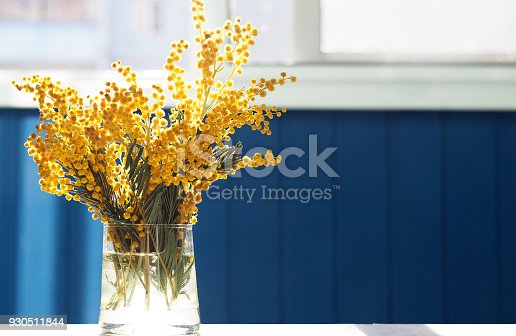 istock Spring yellow mimosa flowers. Acacia dealbata, silver wattle or mimosa in glass vase on table close-up, against background of the window. Flower spring background, 8 March, Easter. Sun rays, backlight 930511844