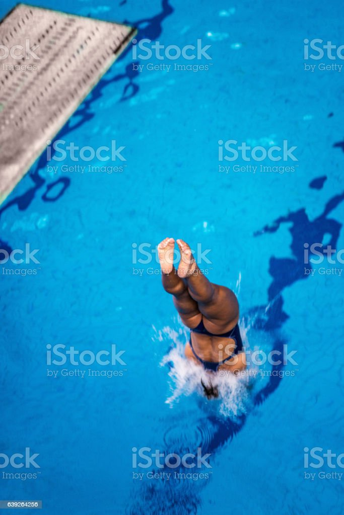 Springboard diving stock photo