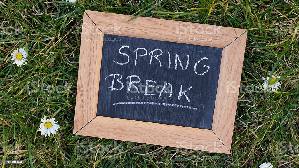 Springbreak written stock photo