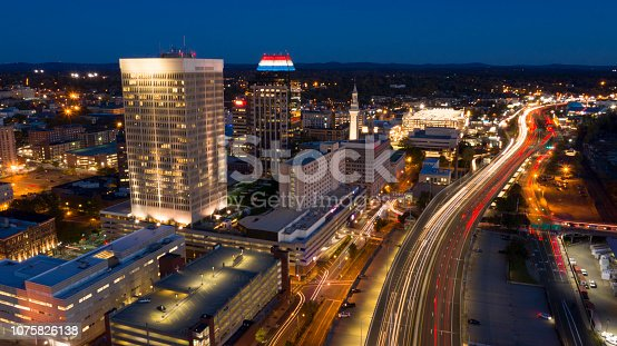 Commuters leave the city at the work days end via waterfront highway in Springfield Massachusetts