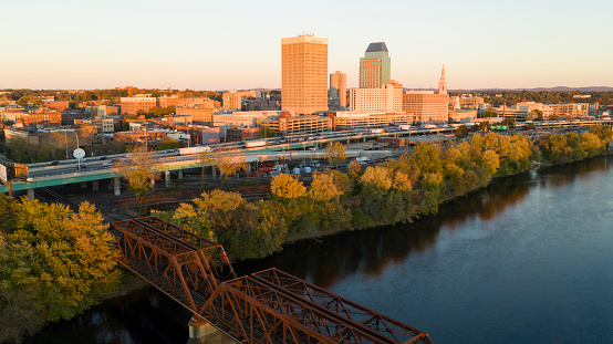 Springfield Massachusetts Late Afternon Rush Hour Traffic Aerial Riverfront View