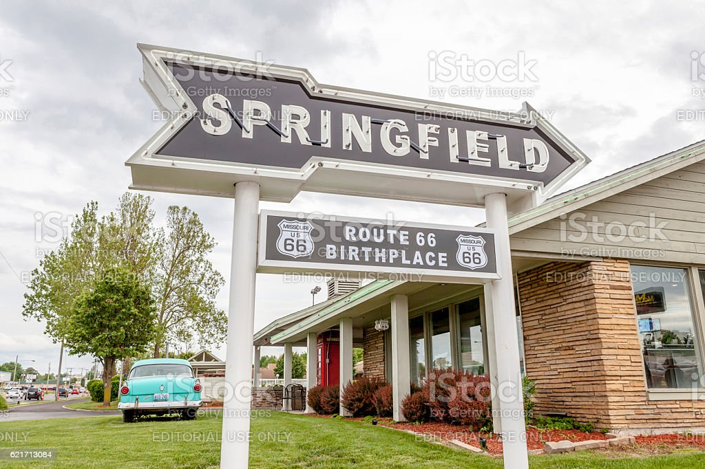 Springfield Missouri, USA- May 18, 2014. Springfield road arrow stock photo