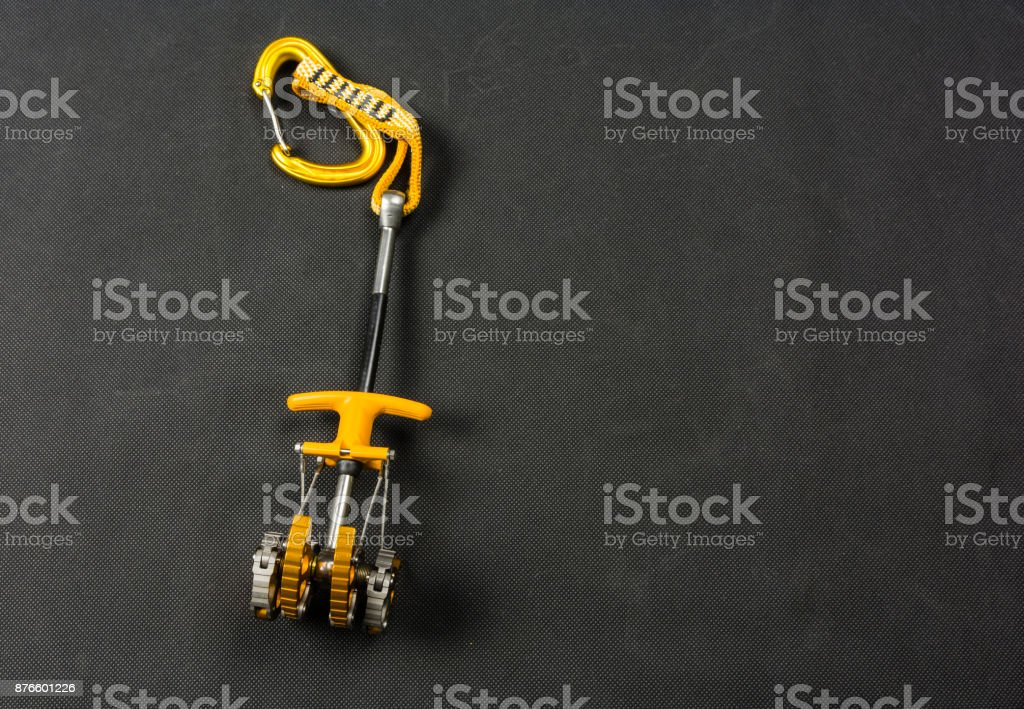 Spring-loaded camming device - a popular friend. stock photo