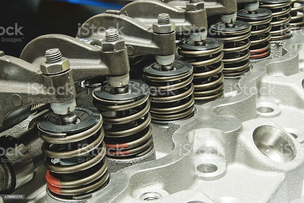 Springs of valves cylinder head stock photo