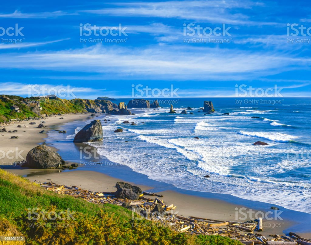 Springtime along the rocky coast of Bandon Beach, Oregon stock photo