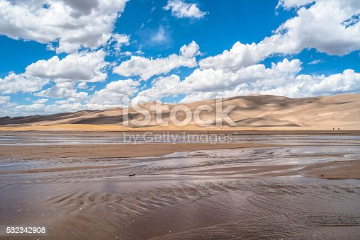 White spring clouds, on blue sky, passing over rolling sand dunes and gently flowing Medano Creek.