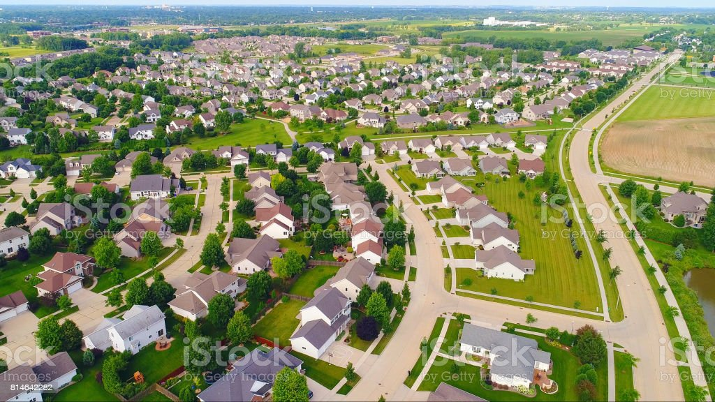 Springtime, beautiful neighborhoods, exceptional homes, aerial view stock photo