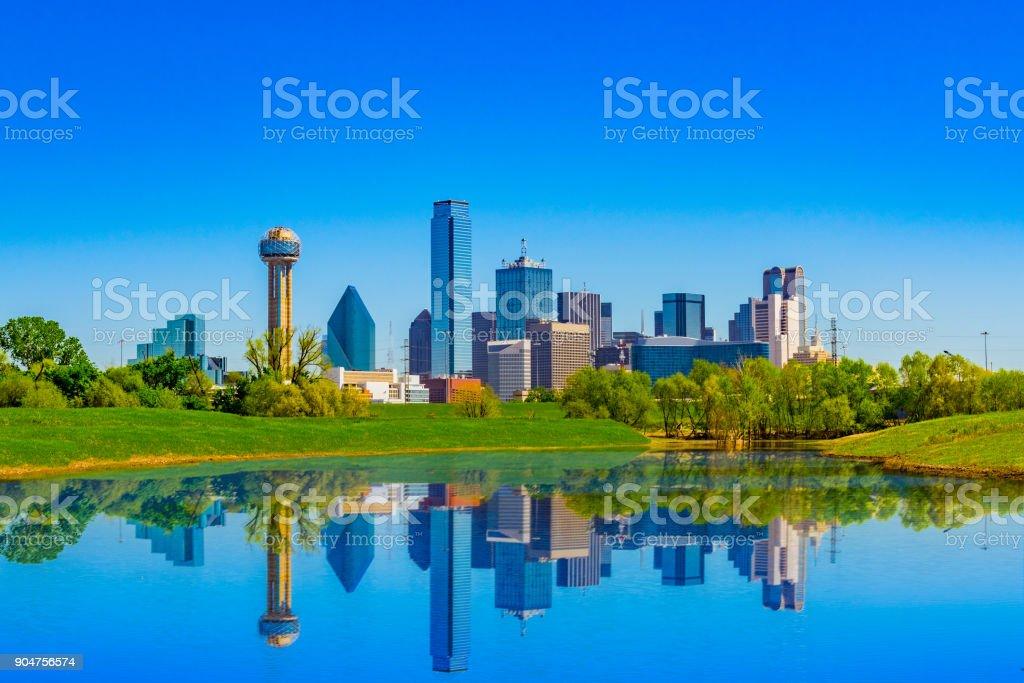 springtime urban skyline; clean city skyline; refreshing urban scene;...