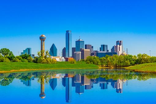 springtime urban skyline; clean city skyline; refreshing urban scene; springtime in Texas