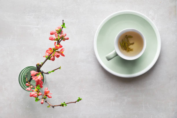 Springtime flat lay, cup of green tea and Japanese quince flowers on a grey stone, copy-space stock photo