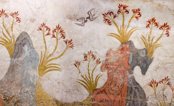 Springtime Fresco from Akrotiri on Santorini island, Greece stock photo