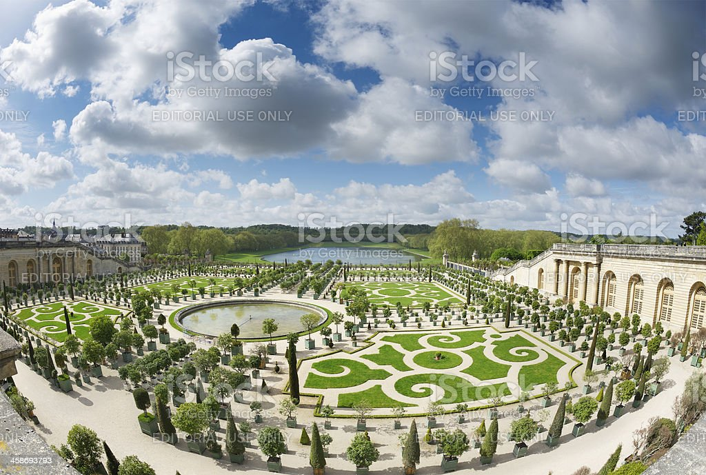 Springtime in garden outside Palace of Versailles stock photo