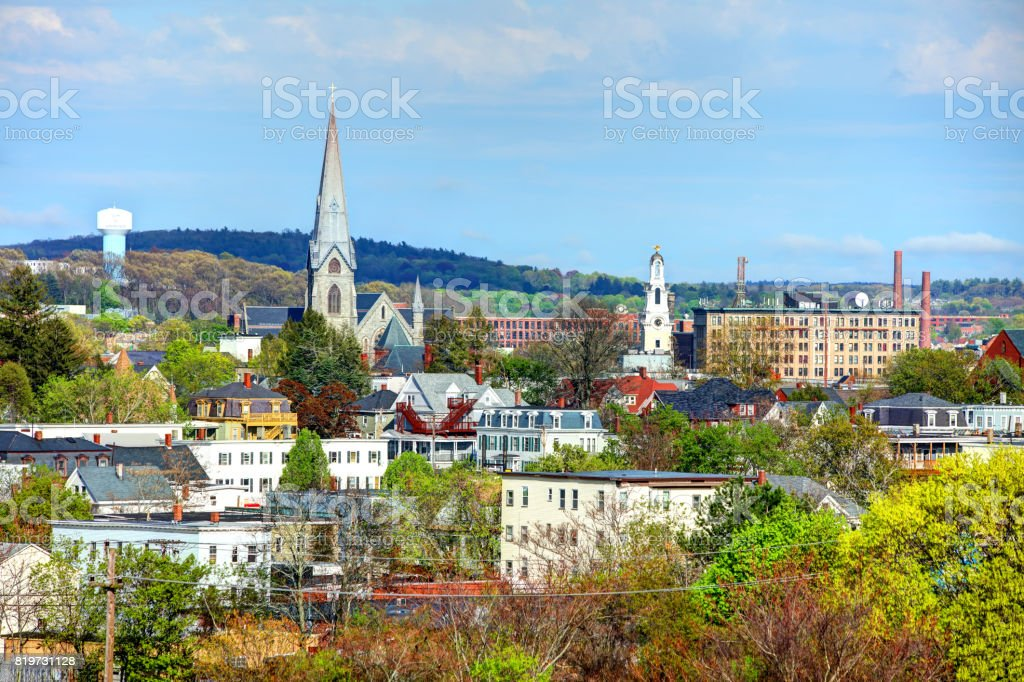 Springtime in Lawrence, Massachusetts stock photo