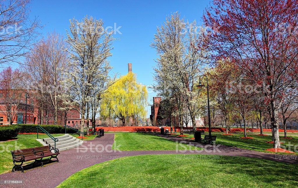 Springtime in Lowell, Massachusetts stock photo