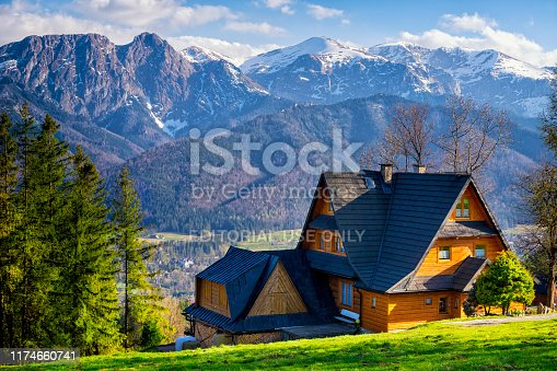 Zakopane, Poland - April 25, 2019:Springtime in Zakopane, with view of the Giewont, the most recognizable peak in the Tatra Mountains, Zakopane , Poland