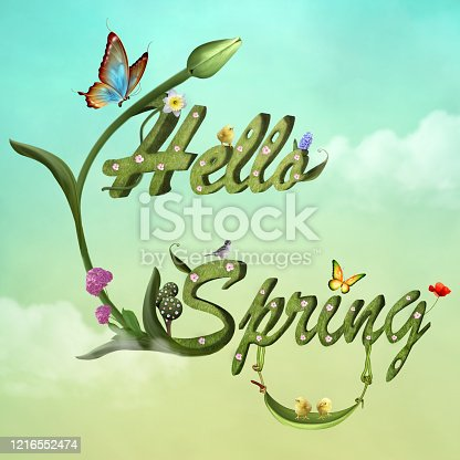 Hello spring greeting with flowers and butterflies on a pale green sky – 3D render